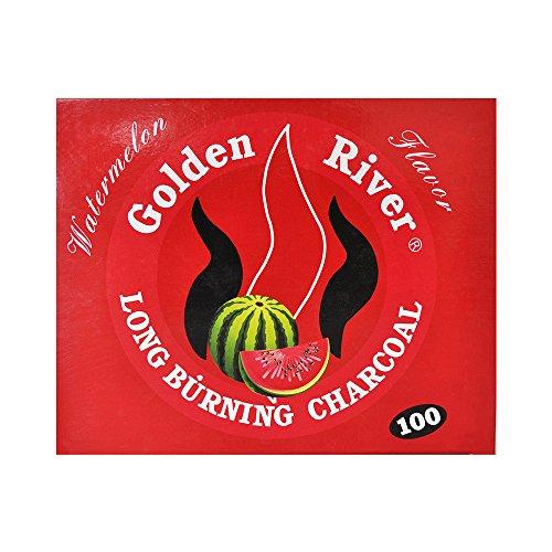 100Kohle GOLDEN RIVER Kohle Narghile Hookah Shisha Kohle Wassermelone (Wassermelone Shisha-kohlen)