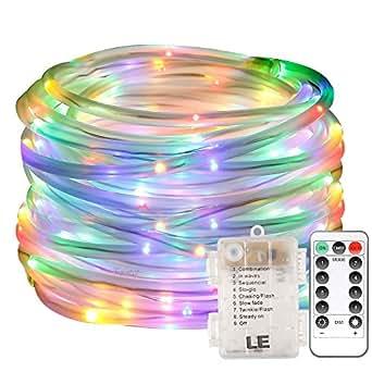 LE Cavo Tubo luminoso RGB 10m a Batterie, 120 LED, 8 Modalità Multicolore Semi-Impermeabile IP44 Catena luminosa Telecomando incluso per Balcone Giardino Interni Natale Capodanno Compleanno