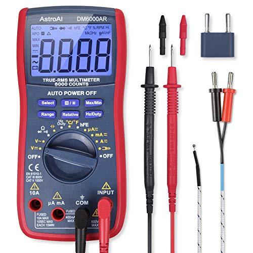 AstroAI Digital Multimeter, TRMS 6000 Zählt Voltmeter Manuell und Auto Ranging Misst Spannung Tester, Strom, Widerstand, Durchgang, Frequenz; Tests Dioden, Transistoren, Temperatur, Rot
