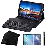 Galaxy Tab A 10.5 2018 Keyboard Case, REAL-EAGLE PU Leather Case with Detachable Wireless Bluetooth Keyboard for Samsung Galaxy Tab A 10.5 inch 2018 SM-T590/T595 (Galaxy Tab A 10.5 2018, Black)