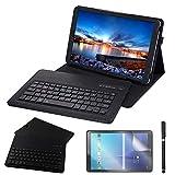 REAL-EAGLE Custodia Galaxy Tab A 10.5 2018 Bluetooth Tastiera, Pelle PU Custodia con Wireless Staccabile Keyboard per Samsung Galaxy Tab A 10.5 inch 2018 SM-T590/T595 (Galaxy Tab A 10.5 2018, Black)