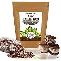 Puntas de Cacao Orgánicas Crudas (Nibs), Chocolate Negro Puro Vegano, Sin Azucares Añadidos, Rico en Magnesio,.