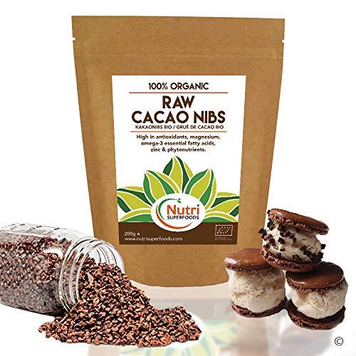 Puntas de Cacao Orgánicas Crudas (Nibs), Chocolate Negro Puro Vegano, Sin Azucares Añadidos, Rico en Magnesio, Ideal para preparar platos, Batidos Energéticos, Barras Energéticas y galletas - 200g