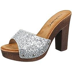Damen Sandalen Pantoletten Sandaletten High Heels Glitzer Plateau ST630 (37, Silber)