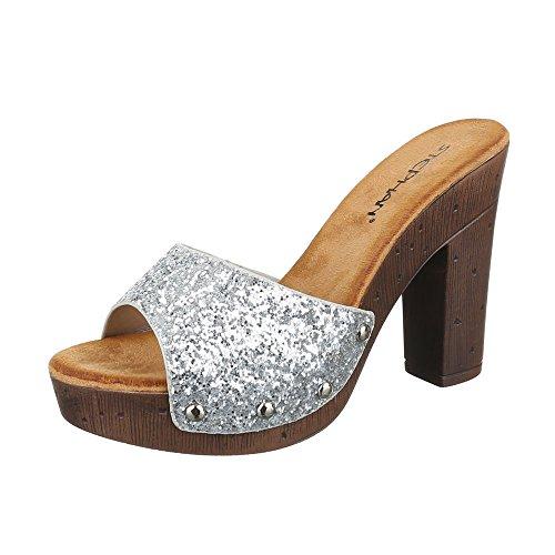 Damen Sandalen Pantoletten Sandaletten High Heels Glitzer Plateau ST630 Silber