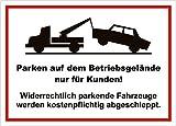 easydruck24de Hinweis-Schild hin_003 Parken auf dem Betriebsgelände nur für Kunden! I Größe 40 x 30 cm I Kunden-Parkplatz Privat-Parkplatz Park-Verbot