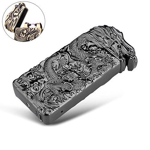 Elektronisches Feuerzeug Lichtbogen wiederaufladbar windgesch&uumltzt mit USB Ladekabel PADGENE® (Schwarz/Drache)