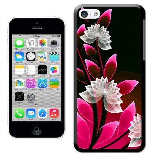 Flower Power Coque arrière rigide détachable pour Apple iPhone modèles, plastique, Purple Flower Elegant Pattern, iPhone 5C Pink & White Floral Pattern