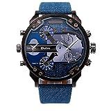 Fittingran Orologio Orologio da uomo, sportivo al quarzo da uomo orologio militare da esterno quadrante al quarzo con quadrante doppio (Cielo blu)