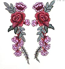 Fancyku Embroidered Patches Flower Patches Iron on Patch Sew on Patch Sticker Applique Badge for Arts Crafts DIY Decor 2 Pcs