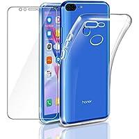 """Cover Honor 9 Lite Custodia + Pellicola Protettiva in Vetro Temperato , Leathlux Morbido Trasparente Silicone Custodie Protettivo TPU Gel Sottile Cover per Huawei Honor 9 Lite 5.65"""""""