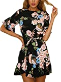 YOINS Damen Sommerkleid Minikleid Partykleid Rundhals Blumenmuster A Linie Hohe Taillen Kurzarm Kleid mit Gürtel Strandmode Schwarz M/EU40-42