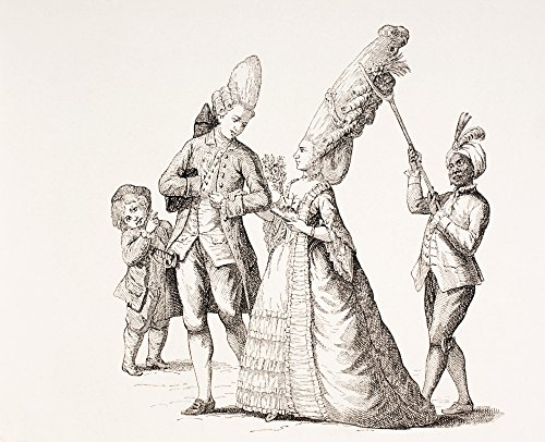 Ken Welsh / Design Pics - A Satire On Women's Extreme Hairdos In 18Th Century Paris. A Servant Walks Behind Holding The Hair In Place With A Forked Stick. From Xviii Siecle Institutions Usages Et Costumes Published Paris 1875. Photo Print (40,64 x 33,02 cm) 18th Century Place