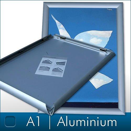 DIN A1 Alu Klapprahmen Plakatrahmen Wechselrahmen Bilderrahmen Ladeneinrichtung Silber Aluminium Rahmen für Plakate Rahmen für Bilder Rahmen Aushang Klicksystem