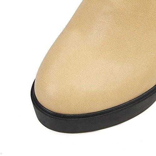 VogueZone009 Damen Rein Pu Leder Hoher Absatz Reißverschluss Rund Zehe Stiefel Aprikosen Farbe