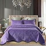 JANRON Gesteppt Tagesdecke Baumwolle Sofaüberwurf mit großartig kariert Muster inkl. 2 Kissenbezüge Übergroße Bettüberwurf - 230X250CM