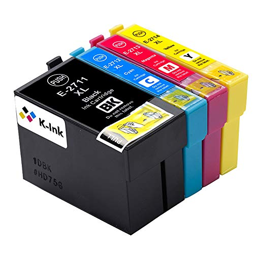 K-Tinte kompatible Tintenpatronen für Epson Epson 27 XL 27XL T2711 T2712 T2713 T2714 (5er Packung - 2 Black, 1 Cyan, 1 Magenta, 1 Gelb) - Kompatible Cyan Tintenpatrone