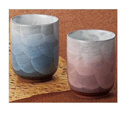 KutaniYaki Azul y Rojo Par Yunomi Taza de té de K4-680 de Japón