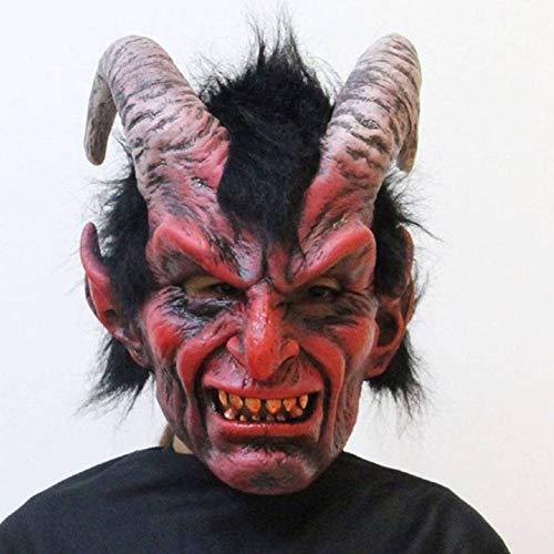AIYA Halloween-Geist-Festival-Nachtklub-Karnevals-Partei-Hörner-rote gehörnte Schaf-Teufel-Latex-Maske (Gehörnte Brille Kostüm)