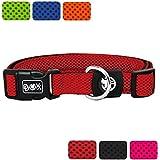 [Gesponsert]DDOXX Hunde-Halsband aus Air-Mesh | verschiedene Farben & Größen | für große, mittlere & kleine Hunde | Rot, XS - 1,5 x 21-30 cm | [Leine & Geschirr separat erhältlich]
