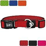 DDOXX Hundehalsband aus Air Mesh | für große, mittelgroße, mittlere & kleine Hunde | verschiedene Farben & Größen | Hunde-Halsband | Katzenhalsband | Halsung | Rot, L - 3,2 x 45-68 cm