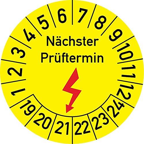 Elektroprüfung Nächster Prüftermin Prüfplakette, 500 Stück, in verschiedenen Größen, Prüfetikett Prüfsiegel Plakette Elektro-Prüfung (25 mm Ø)