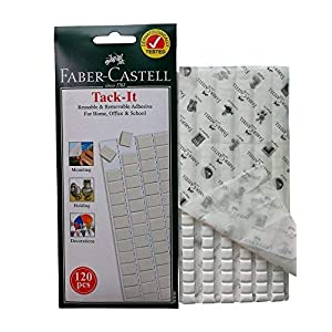 Faber-Castell Reusable & Removable Adhesive putty, Poster & Multipurpose White Tacky putty, Wall safe stick on tack - 120 pieces