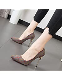 Xue Qiqi Hauts talons blanc avec fine pointe noir chaussures femmes chaussures chaussures unique sauvage,40, gris clair