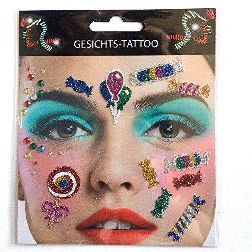Gesichts Tattoo Face Art Halloween Karneval Kamelle/Candy