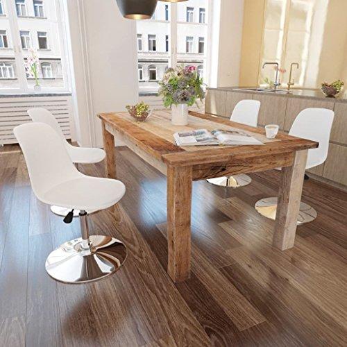 Lingjiushopping 4Stück Stühle Esszimmer höhenverstellbar drehbar weiß Farbe: weiß Material: Sitz aus Kunstleder + Rückenlehne aus Kunststoff + Eisen-Basis (Esszimmer Beistelltisch Kunststoff)