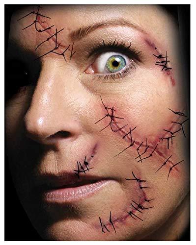 Fancy Me Erwachsene Herren Damen Realistische Wunden Narben Gore Blood Special FX Halloween Make Up Tattoo Transfers, One Size, Stitches & Staples