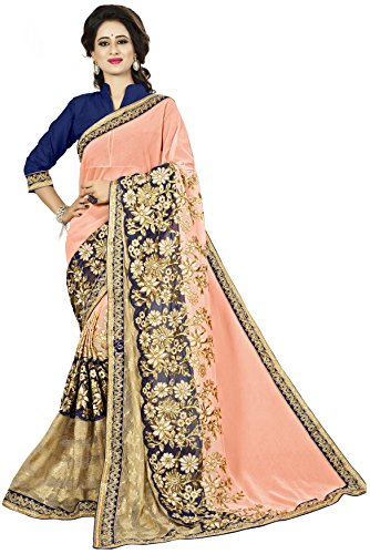 Vedant Vastram Women's Chiffon Embroidered Saree With Blouse Piece (Pink & Beige...