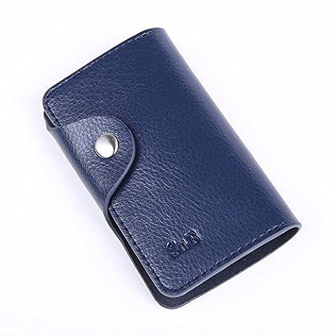 Su.B – Key Case avec 6 porte-clés, une porte-clé plus longue pour Clé de maison et un compartiment pièce de monnaie ou les cartes avec tirette, Cuir Fendu - Bleu