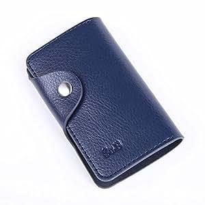 Key Case Su.B avec 6 porte-clés, Key Wallet Porte-clés avec Coin Compartiment, One Ring avec une chaîne 3cm Pour Clé de maison, véritable Split en cuir - Bleu