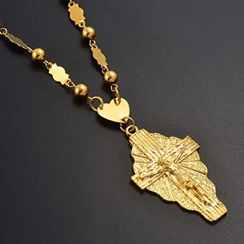 DAOMI Halskette Gold Farbe Kreuz Anhänger Ball Perlen Kette Halsketten Männer Frauen Hawaii Mikronesien Chuuk Marshall Schmuck Kreuze - Für Männer Halskette Hawaii