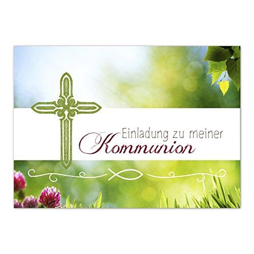 15 x Einladungskarten Kommunion mit Umschlag / Frühlingswiese mit Kreuz / Kommunionskarten / Einladungen zur Feier