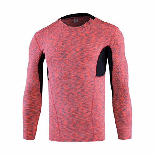 Men's Compression Elastic Long Sleeve Top Tee Shirt red