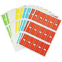 BUZIFU 10 Hojas de Etiquetas de Cables, 300pcs Etiquetas Adhesivas Impermeable, Imprimir o Rotulador, 5 Variedad de Colores para Etiquetar Todos Los Cables/Enchufe