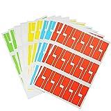 BUZIFU 10 Blätter 300 Stück Kabel Etiketten Selbstklebend 5 Farben Kabeletiketten Wasserdicht Reißfest Kabel Aufkleber für Laserdrucker Kabel