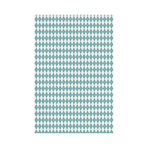 gthytjhv Sky Blue Diamond Lines Shaped Stripes in Checkered Modern Rectangular Art Image Light Blue and White House Garden Family Event Decoration