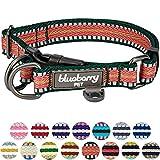 Blueberry Pet 2cm M 3M Reflektierendes Bunt Gestreiftes Dunkelgrün und Rosa Hundehalsband für Mittelgroße Hunde
