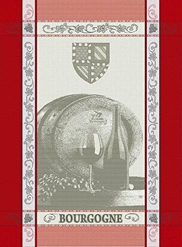 Torchon coton jacquard Bourgogne hermès/gris 50x70