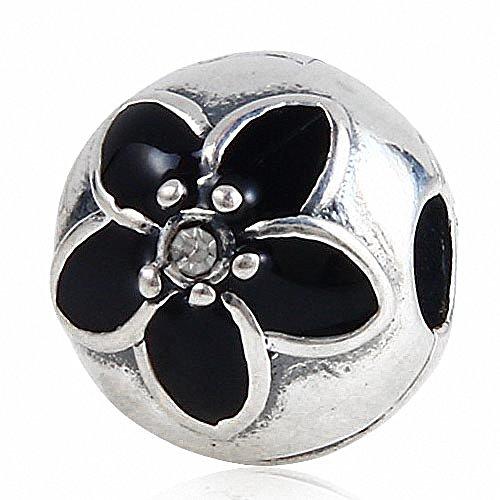2PCS-Clip-Lock-Charme-mail-noir-Mystic-Floral-Argent-sterling-925-Clip-Bead-Charme