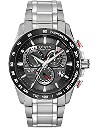 43ee31a8b2c Citizen Men s Eco-Drive Chronograph Watch with Black Dial and Stainless  Steel Bracelet AT4008-