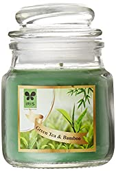 Iris Fragrant Short Glass Jar Candle (5 cm x 5 cm x 9 cm, Green)