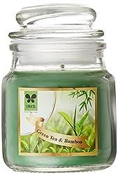 Iris Fragrant Short Glass Jar Candle (5 cm x 5 cm x 9 cm, Green)