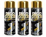 Fahrzeugteile Hoffmann 3er Sparpack DC Chrome-Effect Lackspray Chromspray 400ml freie Farbauswahl (3 Dosen Chromspray Gold)