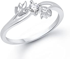 V. K. Jewels Silver Twin Leaf Rhodium Plated Ring for Women