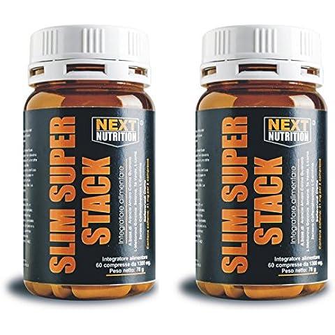 2 Confezioni Slim Super Stack potente dimagrante termogenico brucia grassi 14 principi attivi contro il grasso 60 compresse