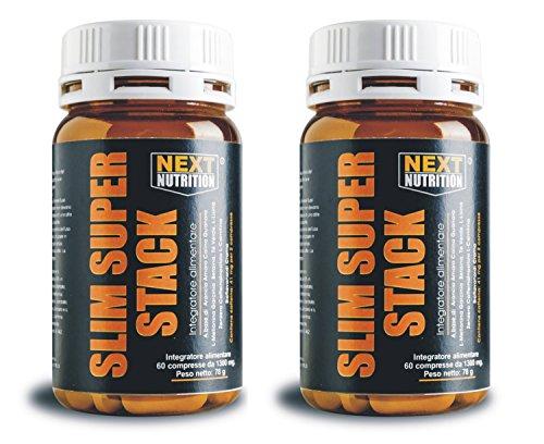 2 Confezioni Slim Super Stack potente dimagrante termogenico brucia grassi 14 principi attivi contro il grasso 60 compresse Integratori Dimagrimento Fat Burner